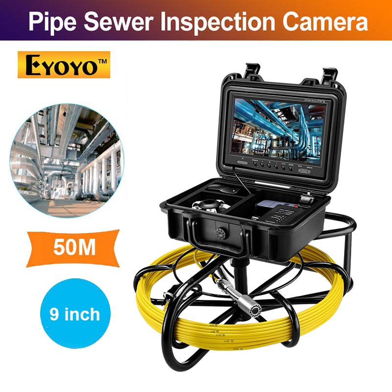Eyoyo Pipeline Endoscope Inspection Camera 50M Industrial Pipe Sewer Drain Video With 9 Inch LCD Monitor 1000TVL Snake Cam