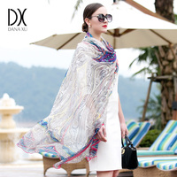 DANAXU 100 Silk Long Scarf Women Large Size Lady Scarf 2017 New Design Silk Beach