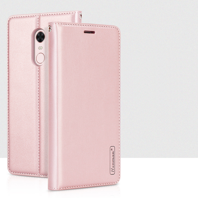 Hanman For Xiaomi Redmi Note 5 Business Style Leather Wallet Case Silicon Back Cover Magnetic Close Card Slot for Redmi 5 Plus