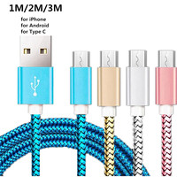 0.5m/50cm/1m/2m/3m tipo C cavo di ricarica caricabatterie Micro USB-C filo di Nylon per iPhone 6 Xiaomi Mi 8 Samsung Galaxy S7 S8 Plus cavo