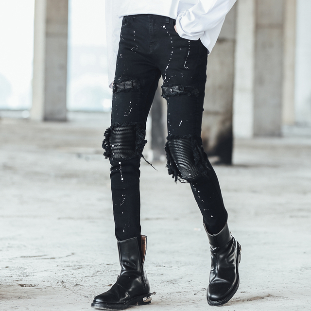9d396632b59c Men leather patch ripped jeans slim fit distress ink denim pants Boys  skinny jeans night club DJ punk hip hop black jogger jeans