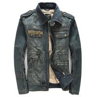 2017 New Retro Blue Thicken Winter Jacket Men Casual Denim Autumn Winter Coat For Men Moto