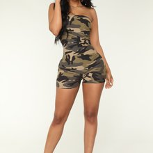 Fashion Women's summer beach rompers elegant jumpsuit Sleeveless Camouflage Boob