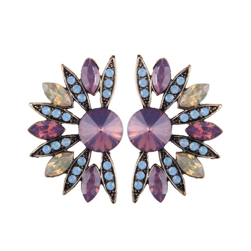 Girlgo Charm Flower Stud Earrings for Women Multicolored Vintage Statement Earrings Cute Pinky Color Luxury Wedding Jewelry