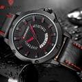 Longbo marca impermeable reloj de moda reloj de cuarzo ocasional ahueca hacia fuera el dial fecha de cuero de los hombres relojes deportivos relogio masculino