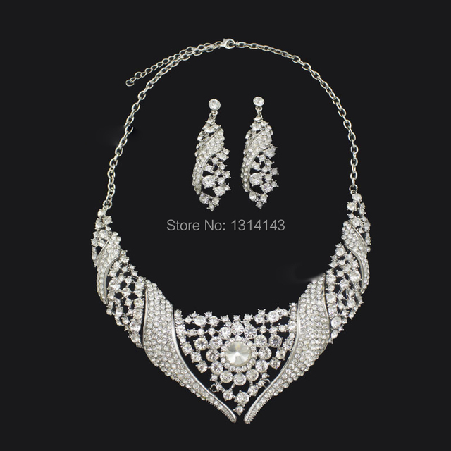 2016 New Jewelry Sets Tl021 Fashion Jewelry Wholesale Elegant rhinestone Bridal Necklace Earrings Set Beloved Guardian