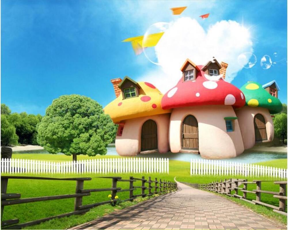Beibehang 3D Animation Fashion Wallpaper Fairy Tale Mushroom House Cute Children Room Back Wall Papel De Parede 3d Wallpaper