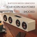 Duplo-chifre de madeira subwoofer baixo bluetooth alimentado dj alto-falante com música de baixo som chamadas inteligentes handsfree tf cartão aux modo