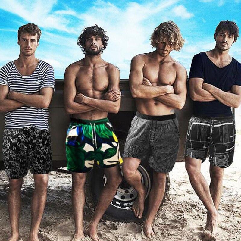 100 soie Homme pantalon marque 100% soie natation Shorts été plage impression Shorts pantalon respirant maillots de bain hommes court Sport Homme - 3