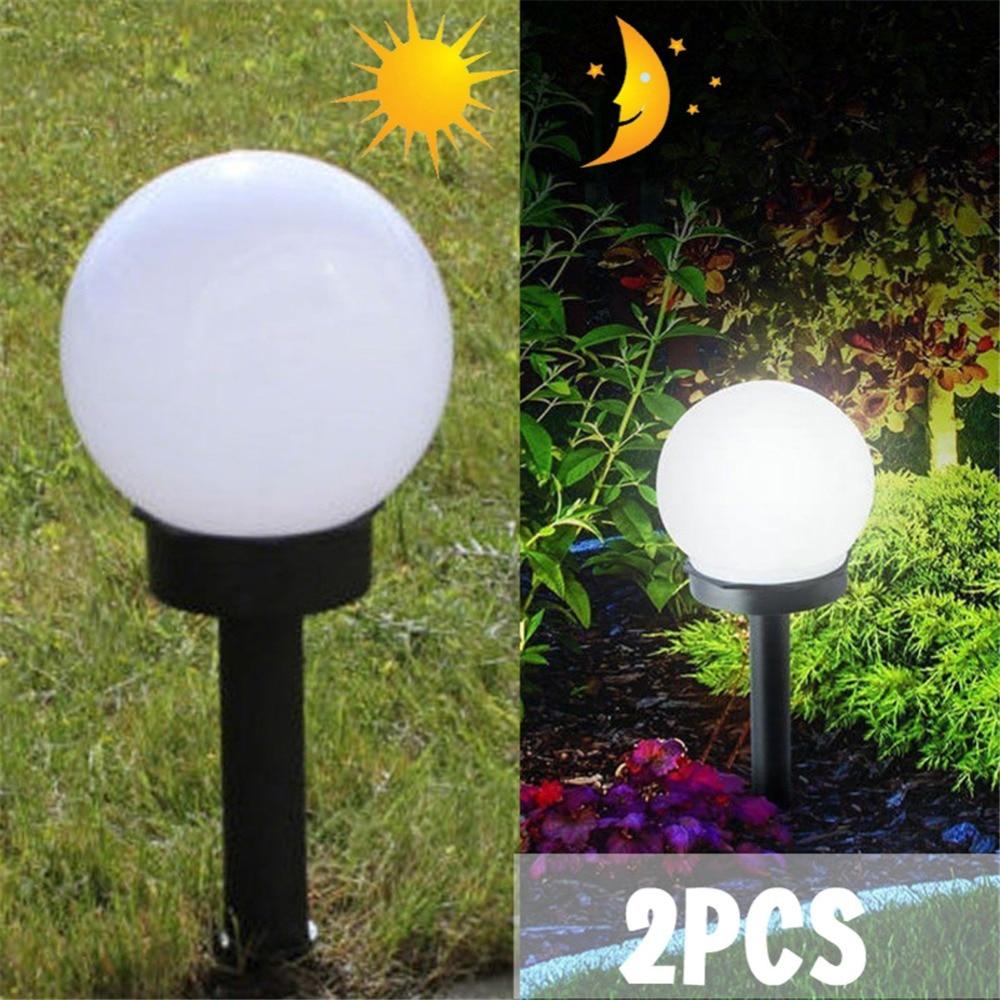 2x LED Solar Powered Garden Outdoor Lighting Lawn Road Spot Light Ball Lamp