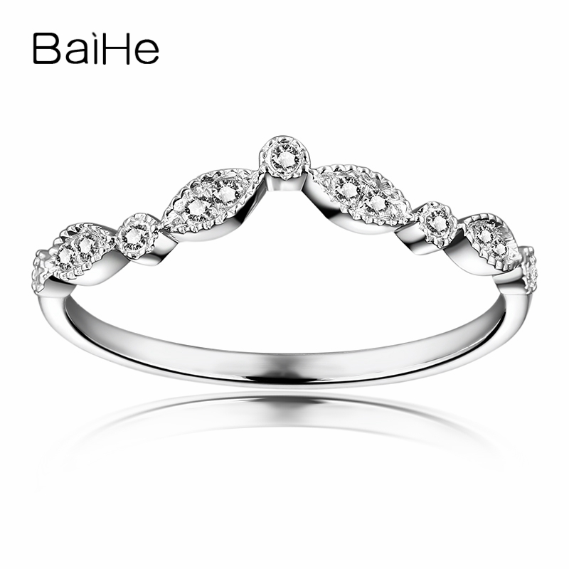 BAIHE Women Engagement Ring 18k Solid White Gold SI-SI3/H Natural Diamonds Wedding Band Party Anniversary Fine Jewelry Gift RingBAIHE Women Engagement Ring 18k Solid White Gold SI-SI3/H Natural Diamonds Wedding Band Party Anniversary Fine Jewelry Gift Ring