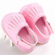 Pudcoco First Walker Baby Shoes Toddler Summer Soft Rubber Bottom Baby Girls Antiskid Toddler Tassel Shoes