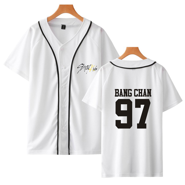 Summer Kpop Stray Kids Yellow Wood V-neck Baseball Tee Printed Short Sleeve Harajuku Casual Fashion Soft 2019 New Women/men tee 6