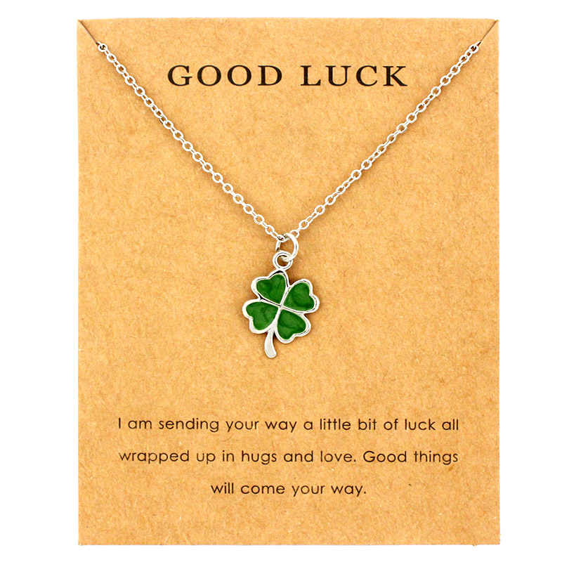 Lucky Four-leaf Clover Fortune Shamrock Pendants Necklaces Waves Sea Turtle Women Jewelry Lover's Christmas Gift
