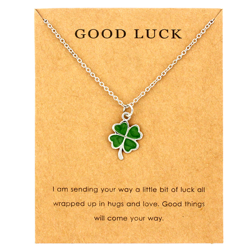 Lucky Four-leaf Clover Fortune Shamrock Pendants Necklaces Waves Sea Turtle Women Jewelry Lover's Christmas Gift(China)