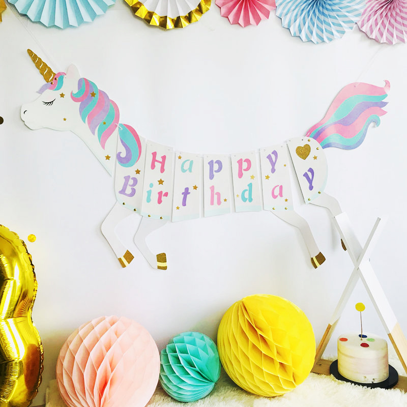Unicorn and Mermaid Birthday Cake Topper Garland Bunting with Name AND Number