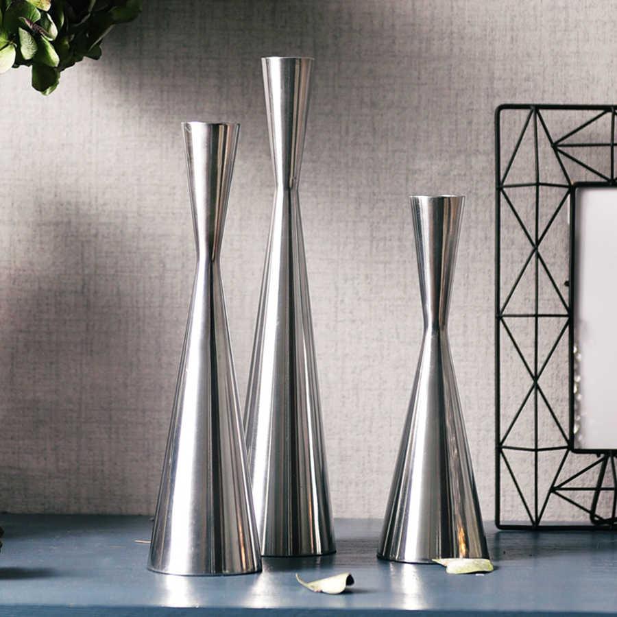 Modern Metal Candlestick Wedding Nordic Large Chandelier Romantic Light Kaars Houder Vintage Geometric Centerpiece 50ZT0015
