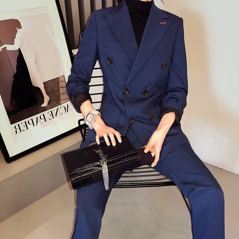 Classic Double Breasted Navy Blue Women Pant Suits Notched Collar Blazer Jacket Straight Pants Office Ladies