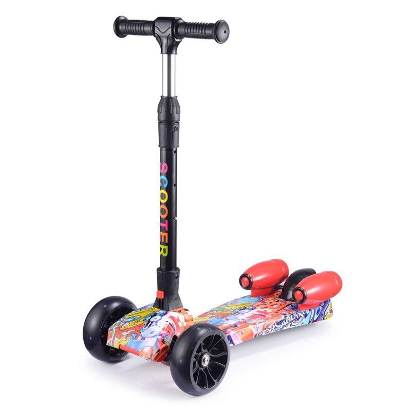 Trottinette enfants trottinette tricycle avec flashs et musique jouet voiture plié voyage, pour enfants à partir de 3 ans