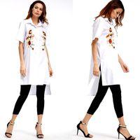 Sexemara yeni 2017 yaz moda kadın bluz beyaz nakış ön kısa sonra uzun bölünmüş yaka kısa kollu gömlek