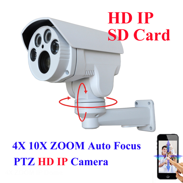 SD Card suporte Full HD 1080 P 2MP IP Câmera PTZ Ao Ar Livre 10x 4x 2.8-12mm 5-50mm Motorizada Auto Zoom Varifocal lente IR Cut Onvif
