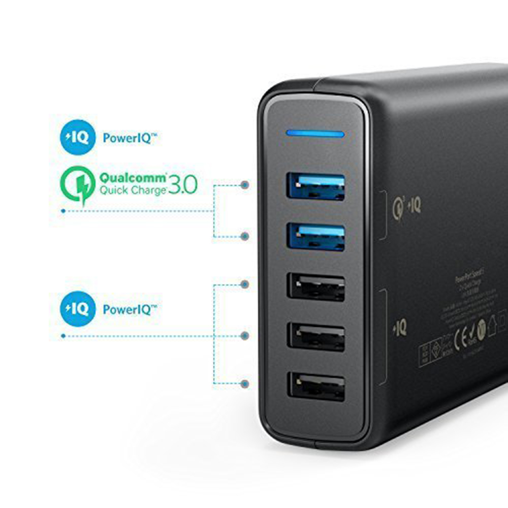 Anker Quick Charge 3.0 63W 5-Port US/UK/EU USB Wall Charger, PowerIQ PowerPort Speed 5