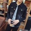 The European and American Style Men's Jean Jacket  Dark Blue Black Denim Jackets Plus Size M-4XL 5XL #911