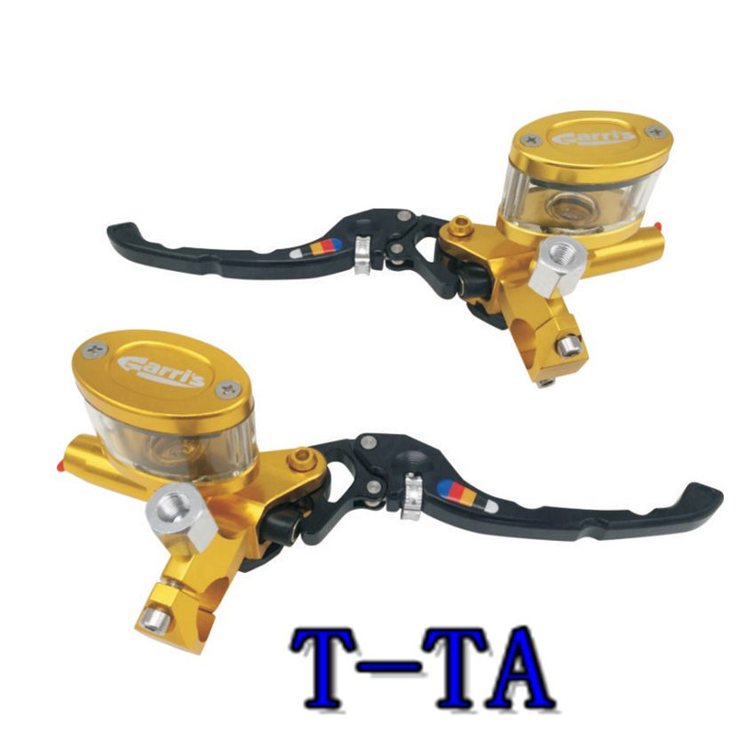 CNC Aluminum 7/8 22mm Motorcycle Brake Double clutch Transparent oval Cylinder Reservoir Hydraulic Lever for 50CC-300CC TTA