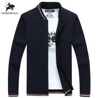 SAMHI BUGLE Cardigan Cotton Men Brand Clothing Zipper Fashion Winter Jacket Striped Stand Collar Sweater Men