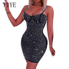 TIYE Fashion Sexy Sparkly Mini Bodycon Dress Women Summer Rhinestone Dresses Slim Party Night Club Short Vestidos