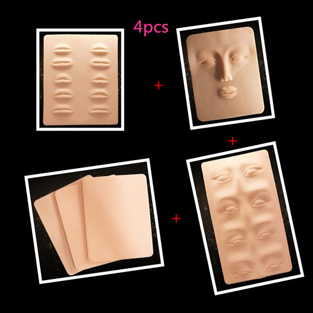 4 Pcs 3D Tattoo Practice Skin Lip Eyes Eyebrow Practice Skin For Learner Use Permanent Makeup Practice Skin
