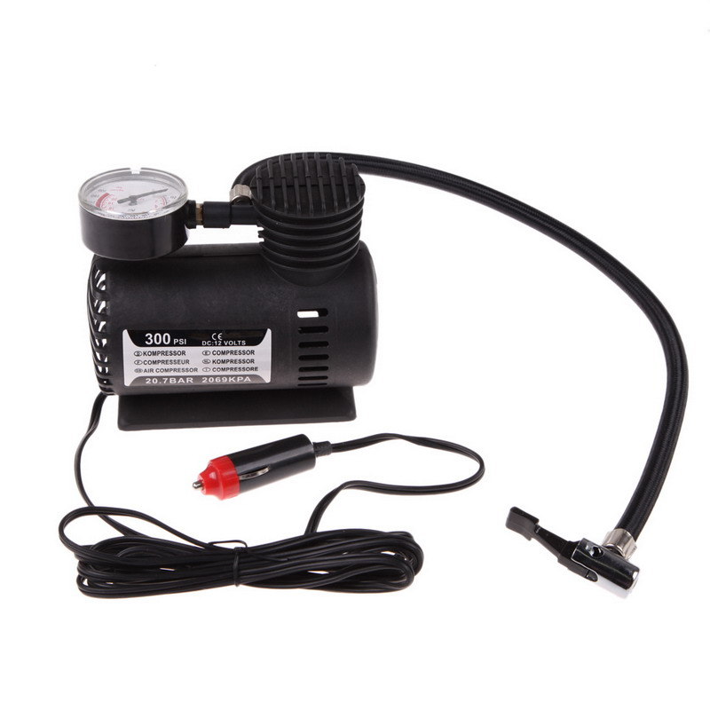 1pc 300 Psi Auto Car Air Compressor 12v Dc Electric Pump Tyre Inflator For Car Motorcycle Finely Processed black