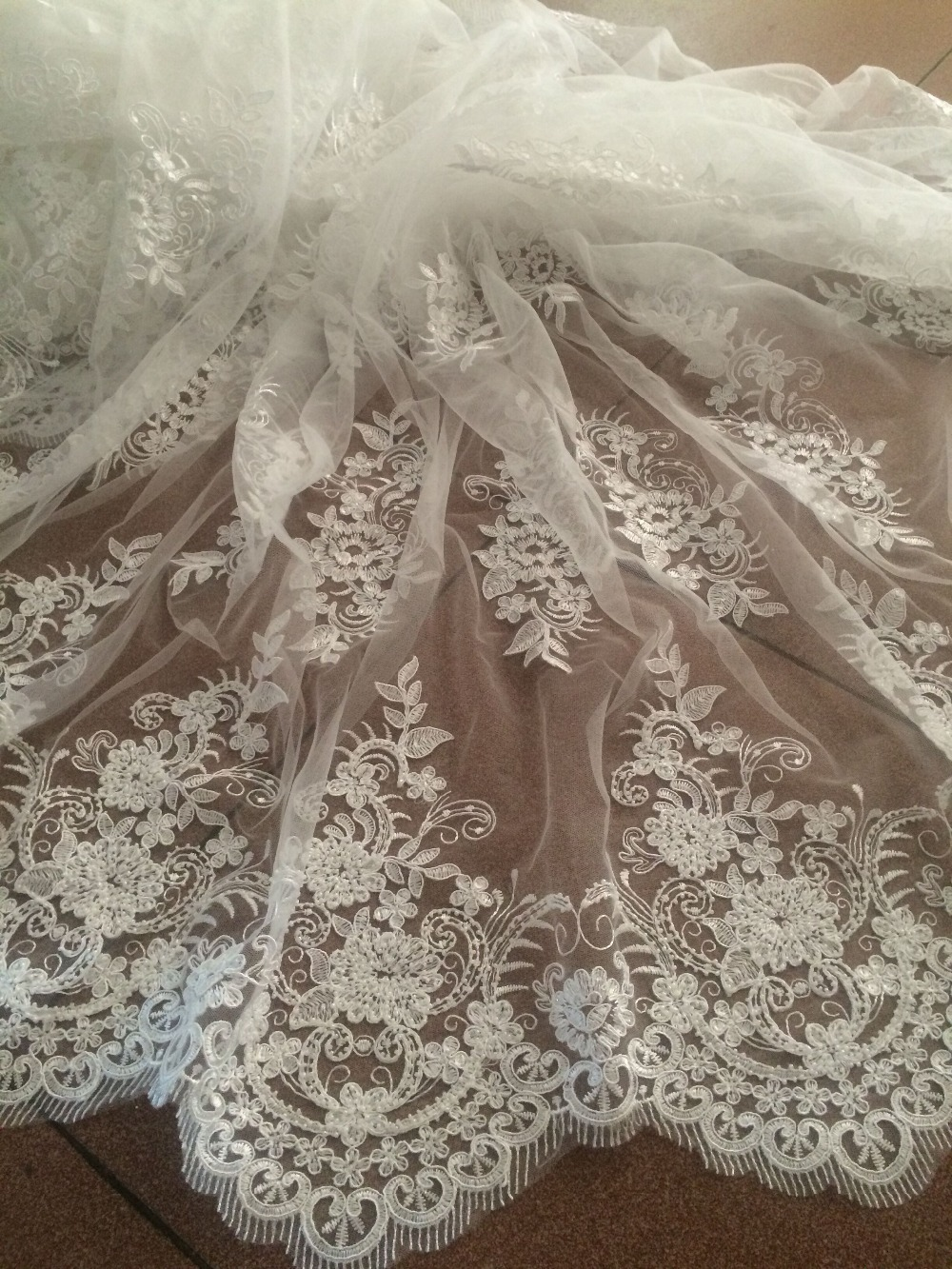 fashionable embroidered lace fabric David 42926 beaded tulle net fabric french lace fabric with high quality