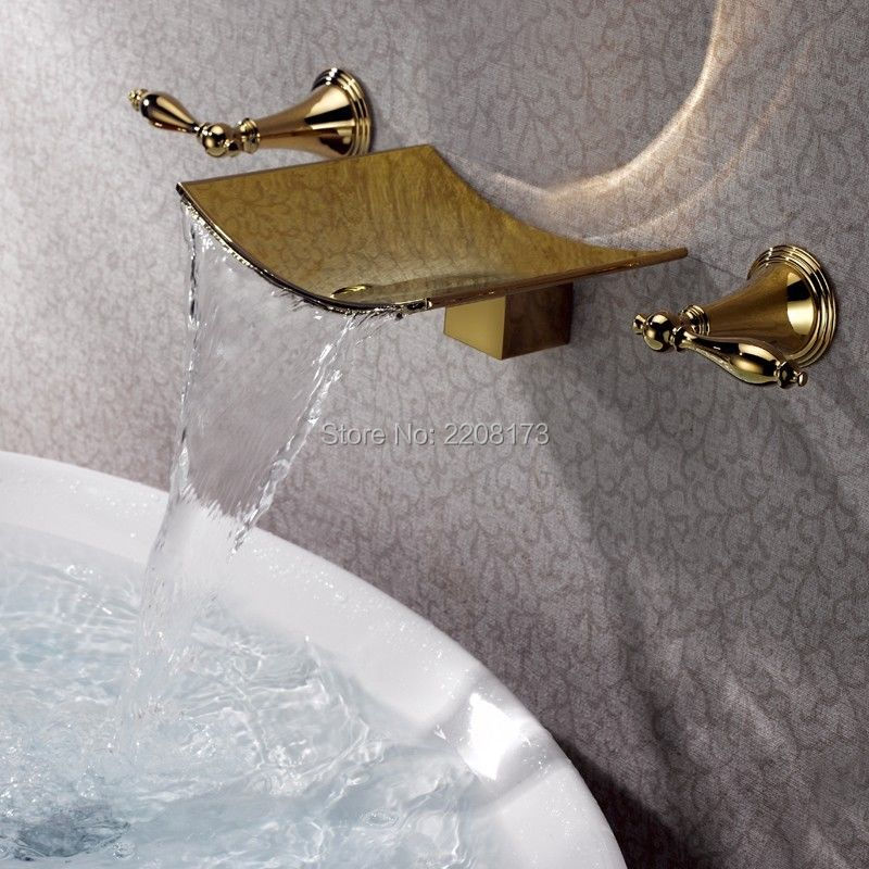 High Quality Gold Finish Waterfall Spout Tub Faucet Wall Mount 3 Hole Bath Mixer Tap Torneiras Banho Water Valve Bathroom Faucet
