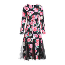 High quality mesh patchwork dress New 2019 spring summer runways floral print diamonds A188
