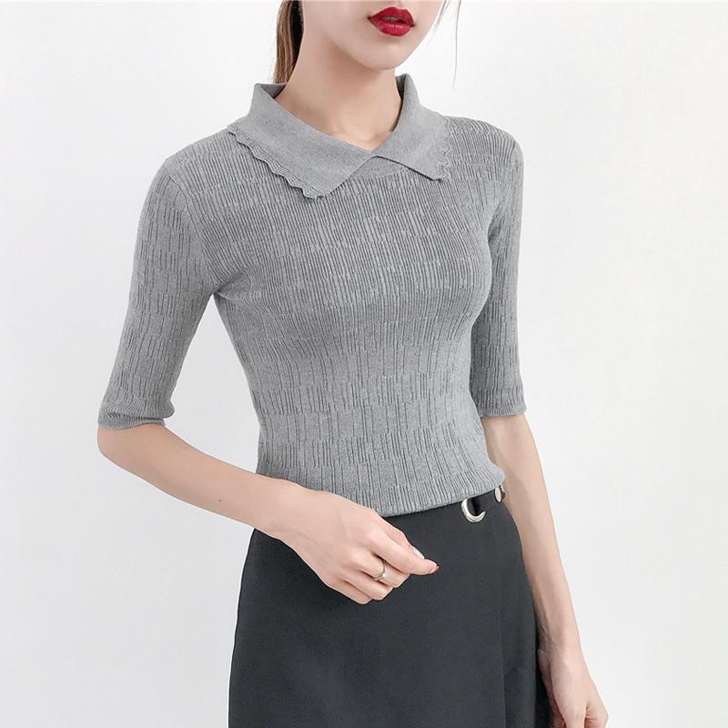 ac211a65f4f OHCLOTHING Short sleeve sweater female thin summer silk sweater slim female  turtleneck jacket shirt Hitz