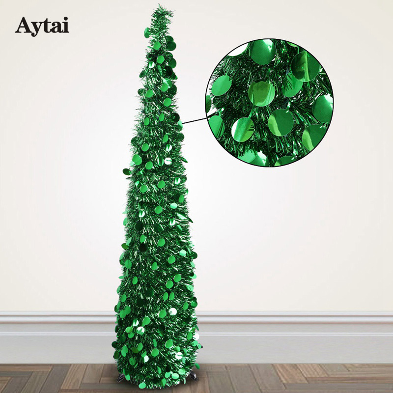 aytai bling sequins christmas tree 150cm artificial tinsel pop up christmas new year decoration christmas decorations for home in trees from home garden - Pop Up Christmas Tree With Lights And Decorations