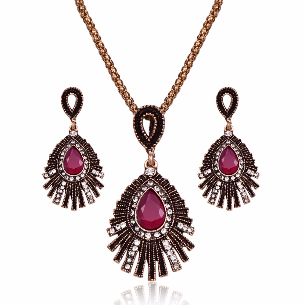 Turkish Wedding Jewelry Sets For Women Antique Gold Pave Crystal Big Water Drop Resin Stone Pendant Necklace And Earrings Set