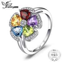 JewelryPalace Fower 2 6ct Topazs Amethysts Citrines Garnets Peridots Ring 925 Sterling Silver 2018 Hot Salling