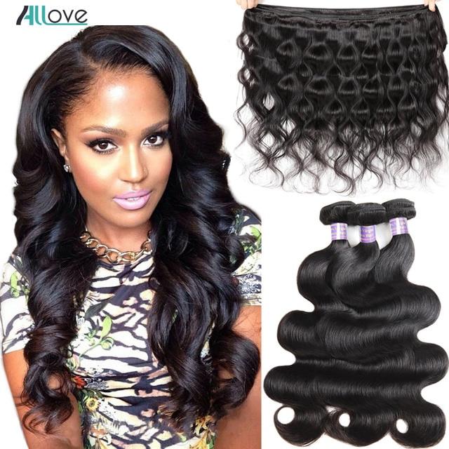 Allove paquetes de onda del cuerpo paquetes de pelo malayo 100% paquetes de cabello humano 1 3 4 paquetes de pelo malayo de la onda del cuerpo no Remy