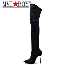 MVP BOY Sexy Over The Knee High Women Boots Faux Suede Stretch Slim Boots Fashion 12 cm Heel Thigh High boots Shoes Woman 35-42 недорго, оригинальная цена