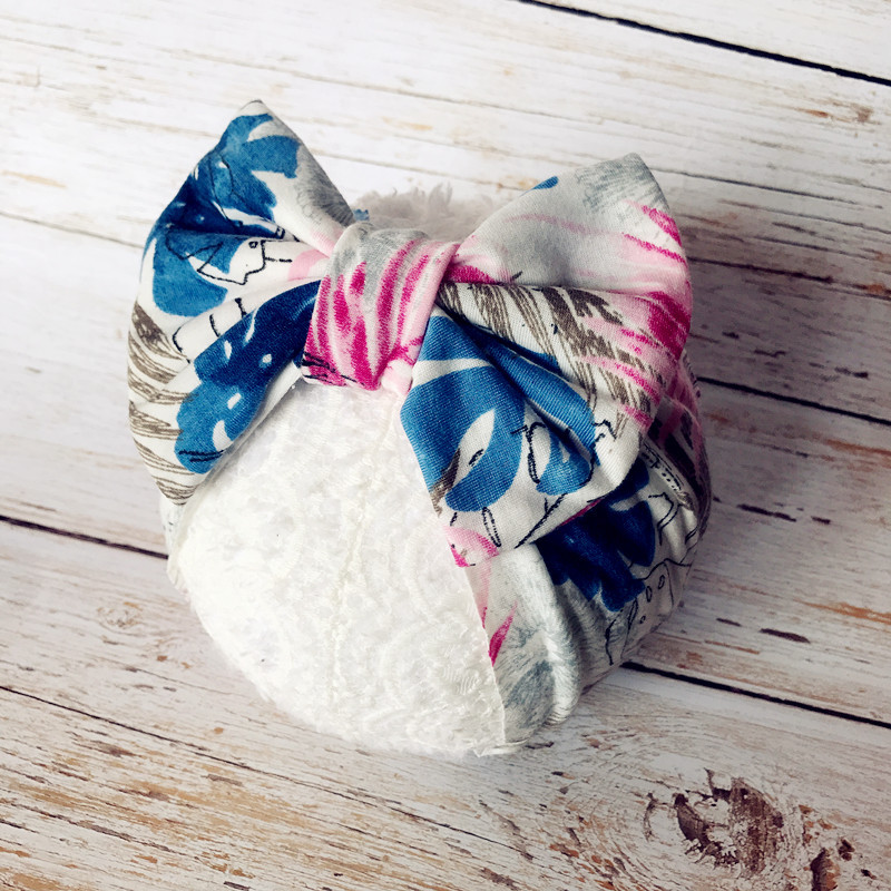 2019 New Baby Cotton Headbands Big Bowknot Printed Infant Girls Headwraps Newborn Turban Headbows