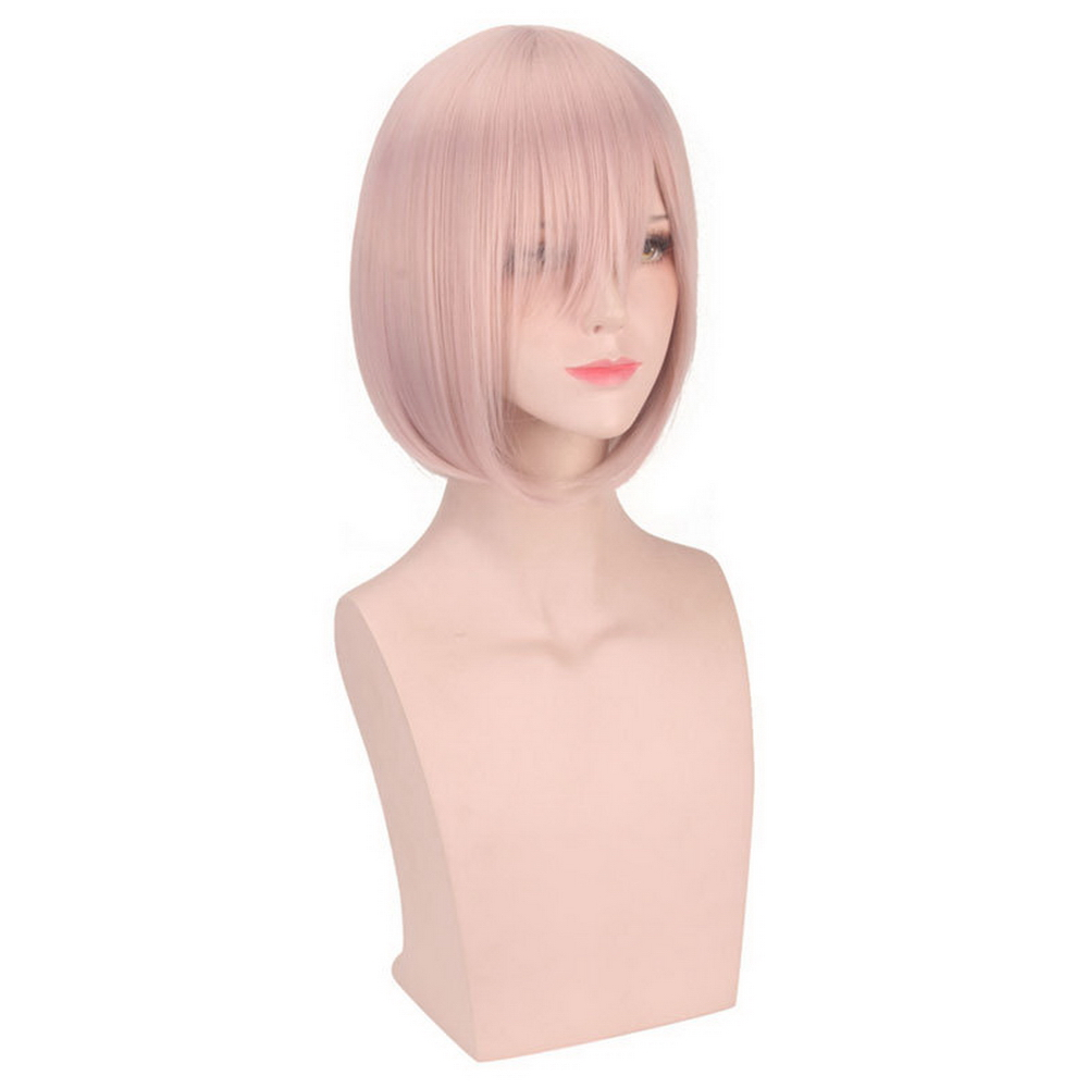 FGO Fate Grand Order Matthew Kyrielite Light Pink Short Bob Wig Cosplay Costume 30cm Synthetic Hair Party Wigs For Women in Anime Costumes from Novelty Special Use