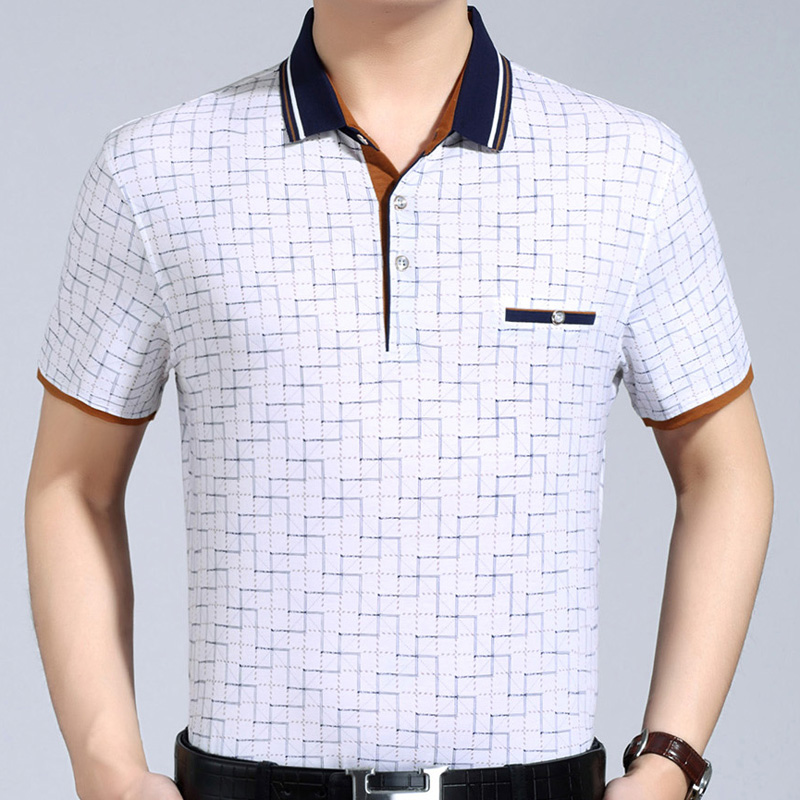 2018 new mens clothing short sleeve   polo   shirt summer pol men plaid brands   polos   tee shirts dress streetwear male poloshirt 2058