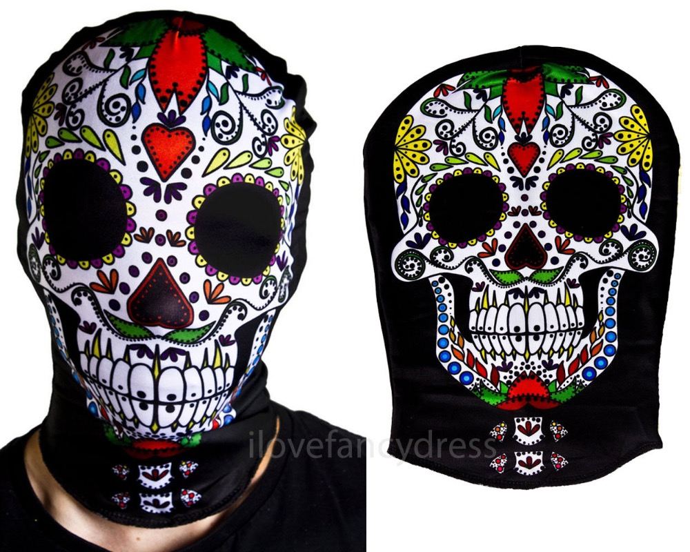 DAY OF THE DEAD SKELETON SKIN SUIT FACE MASK HALLOWEEN FANCY DRESS COSTUME ACCESSORY