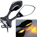 Integrated Turn Signals Rear Mirrors For Honda Yamaha Ducati Suzuki Universal