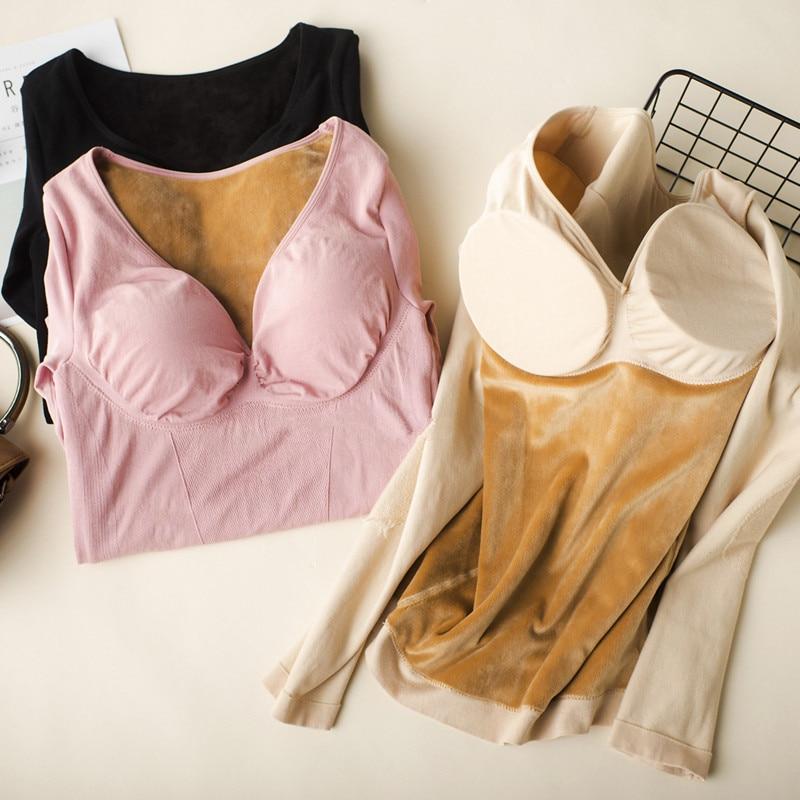 Dames hiver chaud sous-vêtements femme épais à manches longues cachemire Modal avec soutien-gorge automne vêtements thermique corps sculptant Shapers