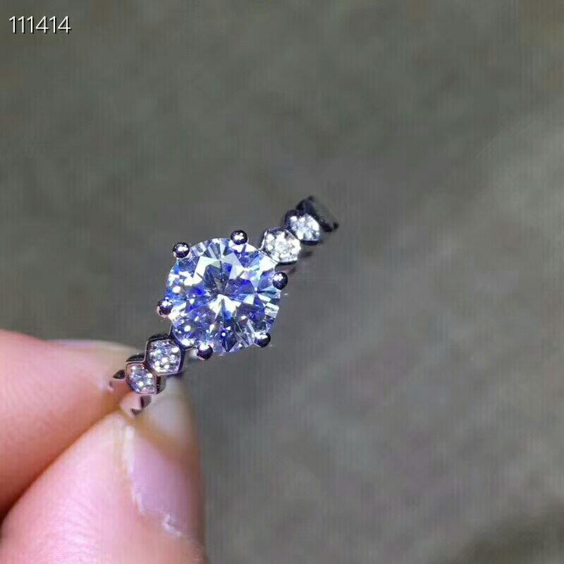 MeiBaPJ Very Glittering Natural Moissanite Gemstone Classic Ring for Girl Real 925 Sterling Silver Charm