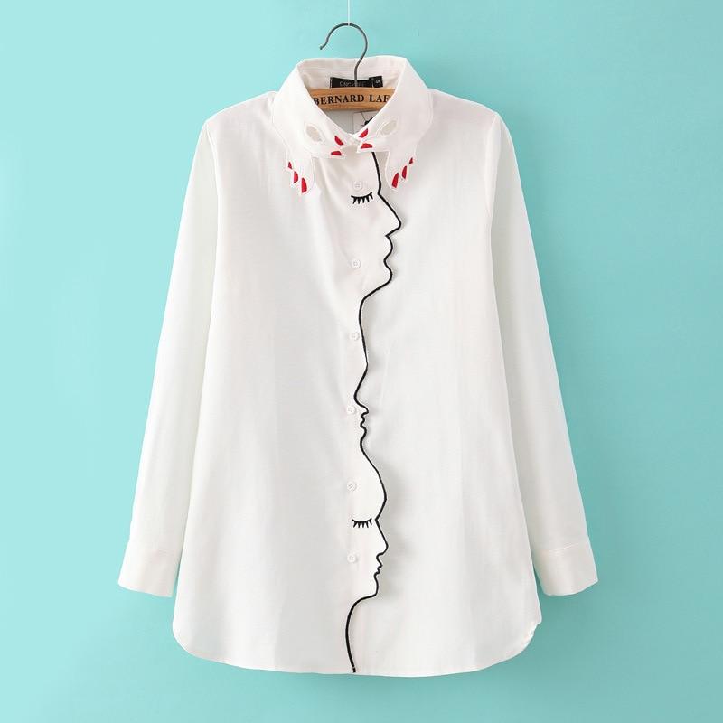 2016 Designer Embroidery Blouse Shirt Women Polo Collar