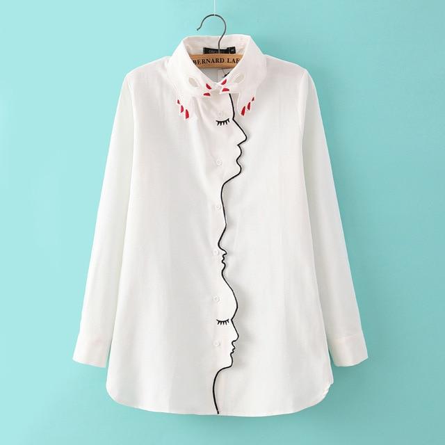 Designer embroidery blouse shirt women polo collar